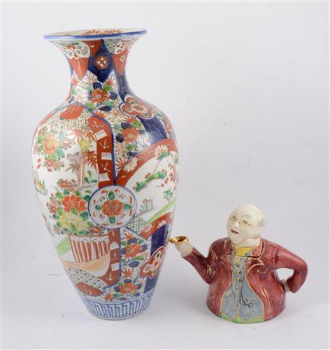 "Lot 44 - A large Imari vase, 45cm, Doulton Series Ware ""Rustic England"" pedestal bowl 19.5cm diameter, small Aynsley fruit dish by D Jones 14cm diameter and a Lingard ""Mr Pickwick"" teapot (4)"