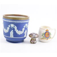 Lot 65-Wedgwood blue jasperware jardinière, other decorative ceramics, and two glass paperweights.