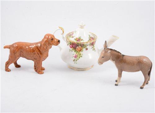 Lot 46 - Beswick model of a Spaniel, Horseshoe Primula; Beswick Donkey; Royal Albert 'Old Country Roses' tea set; Hammersley bone china; etc.