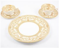 """Lot 130-Royal Worcester part tea and dinner service, """"Harewood"""" design, ten place settings."""