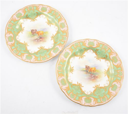 Lot 75-Two Royal Worcester cabinet plates decorated by E. Townsend.