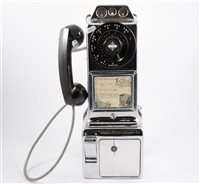 Lot 138-American nickel plated 3-slot wall telephone, by Western Electric Company Inc