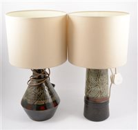 Lot 128-Three Newlyn Celtic Pottery lamp bases, and a Holkham Pottery lamp