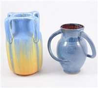 Lot 134-Ruskin four-handled vase, together with other assorted decorative pottery