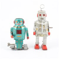 Lot 97-Two tin Japanese tin-plate robots.