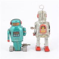 Lot 97-Two tin Japanese tin-plate robots.