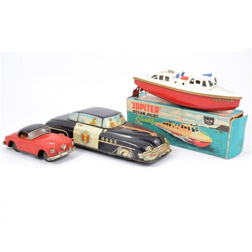 Lot 96-Sutcliffe model Jupiter boat boxed, and two other tin plate models