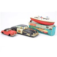 Lot 96 - Sutcliffe model Jupiter boat boxed, and two other tin plate models
