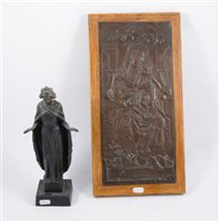 Lot 144-Three Christian statues and a relief plaque depicting the Madonna and Christ.