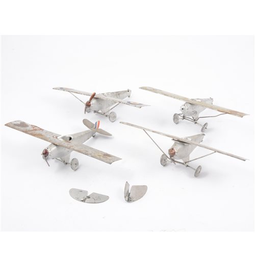Lot 86-Britains Toys, four early aircraft cast metal and tin plate models, all (af), wingspan 21.5cm, (4).