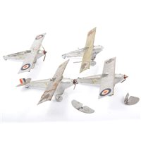 Lot 86 - Britains Toys, four early aircraft cast metal and tin plate models, all (af), wingspan 21.5cm, (4).