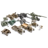 Lot 125-Britains diecast military models, including three early military wagons all (af), two Howitzer heavy guns, 155mm gun, and other military field guns, one box.