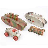 Lot 92-Four wind-up clockwork tin-plate tanks, including a model by Markin Germany 13cm long, Marx USA 22cm long, Line Bros 12.5cm long and an unbranded tank 26m long, (4).