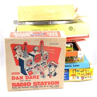 Lot 138-Dan Dare Radio Station (no hand sets) by Merit toys, and other board games and toys, including Waddingtons Go, Subbuteo, Spirograph, dart board etc.