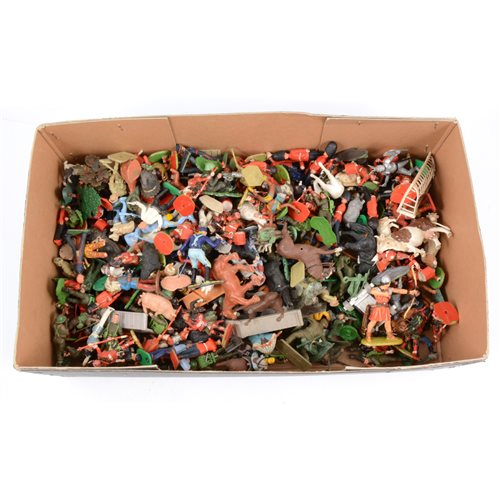Lot 89-Plastic figures by Britains,Timpo and others, a collection of military soldiers, Cowboys, Indians and farm animals etc.