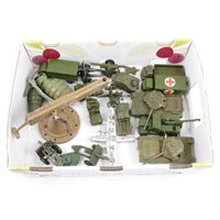 Lot 91 - Military diecast models and vehicles, including Jolliboy II table gun, Dinky Toy models etc, one tray.