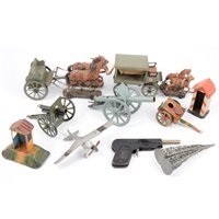 Lot 93-Two Elastolin Germany military horse-drawn wagons, and other tin-plate military models etc.