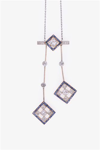 Lot 184-An Art Deco style sapphire and diamond negligee pendant