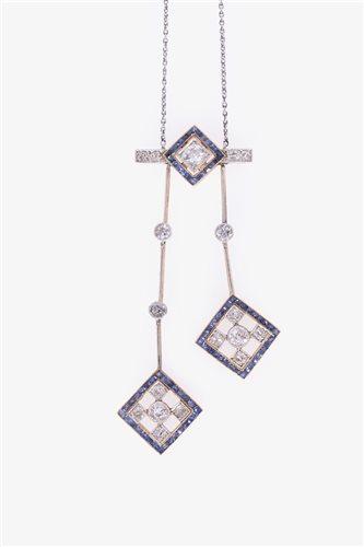 184 - An Art Deco style sapphire and diamond negligee pendant