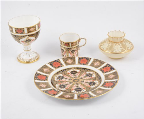 Lot 44-Four pieces of Royal Crown Derby Imari ware, and a Worcester ivory ground pot pourri vase
