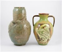 Lot 31-A Bretby Art Pottery Dragon vase, and a large Brannam Ware vase, damages
