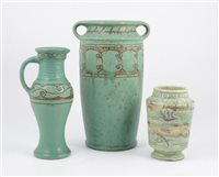 Lot 39-A Denby Pottery 'Danesby Ware' vase, another jug, and a Shorter pottery vase