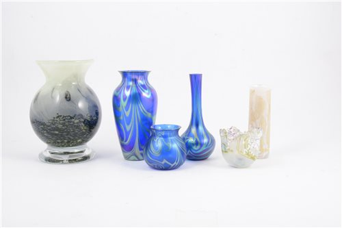 Lot 67-Three Okra Studio Glass Nebula vases, and three other studio glass vases