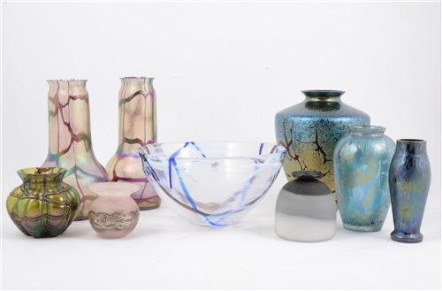 Lot 73-A modern Kosta Boda Art Glass bowl, together with six iridescent glass vases