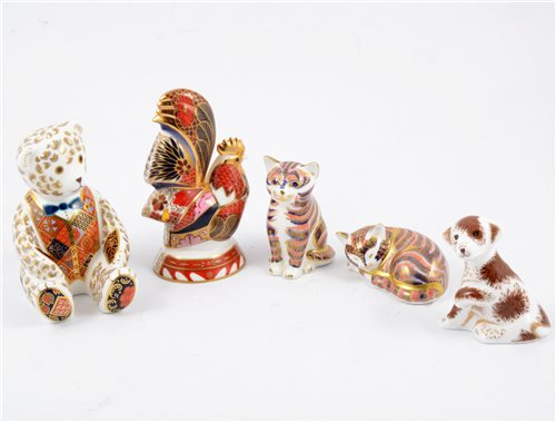 Lot 1-A collection of Royal Crown Derby paperweights and similar figures