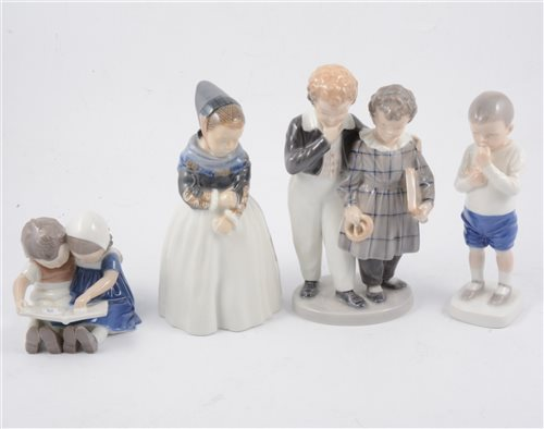 Lot 23-Four Royal Copenhagen figures of children - young girl in long dress 1251 20cm