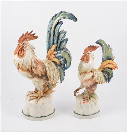 Lot 72-Two Italian porcelain cockerels