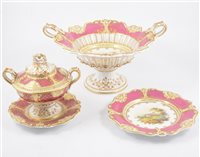 Lot 129-A large Staffordshire dessert service, hand-painted with church and river scenes