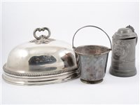 Lot 145-A glass-bottomed 2 pint pewter tankard by Watts & Harton, and other plate and metal wares.