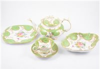 Lot 126-A Staffordshire hand-painted dinner and tea service