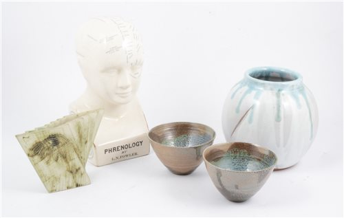 Lot 16-A Carn Pottery vase, two salt-glazed bowls, another Studio Pottery vase, and a Phrenology bust