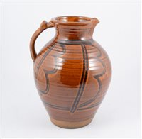 Lot 98-A large studio pottery pitcher