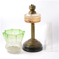 Lot 100A-Edwardian brass column oil lamp, etched glass shade.