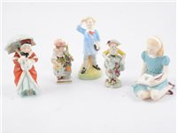 Lot 8-A group of Royal Doulton nursery rhyme / literature-related figurines (6) and Voight Sitzendorf figurines (2)