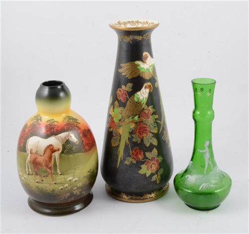 Lot 37-A pair of Crown Devon Soleilian Ware vases decorated with scenes with horses, signed S Fieldhouse