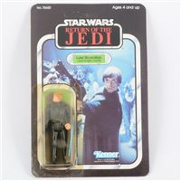 Lot 140-Star Wars The Return of the Jedi Luke Skywalker in Jedi Knight Outfit, by Kenner Toys, still sealed on original blister pack box, the box is also unpunched.