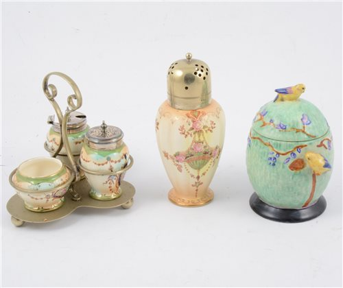Lot 79-A collection of Crown Devon blush ivory sugar shakers.