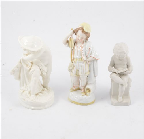 Lot 20-Worcester white glazed spill vase modelled with a boy, and two other Continental figures (3).