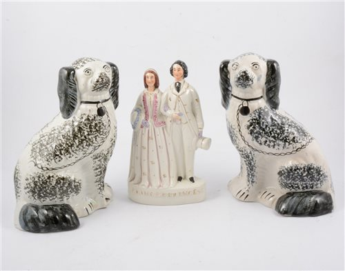 Lot 56-Staffordshire pottery group, Prince & Princess of Wales, and three Staffordshire pottery dogs (4)