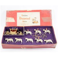 Lot 88-Britains Toys Historical series Coronation Coach, painted lead in original box.