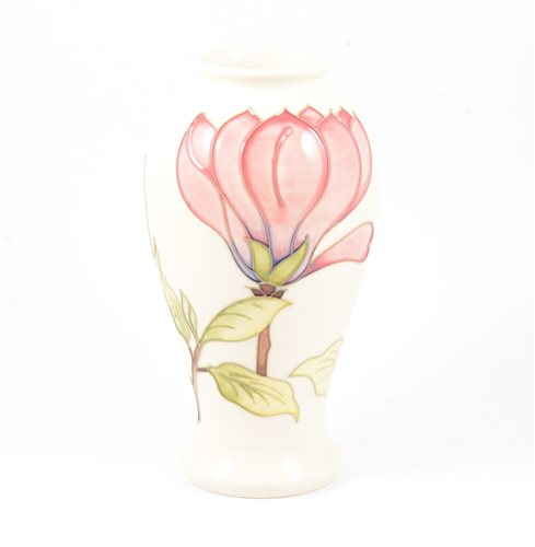 "Lot 3-A Moorcroft ""Pink Magnolia"" baluster vase on cream ground, 26cm. impressed Moorcroft Made in England, signed in blue WM 75/94"