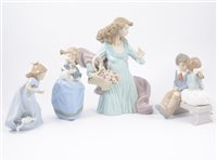 Lot 47-A collection of eight Lladro and Nao figures