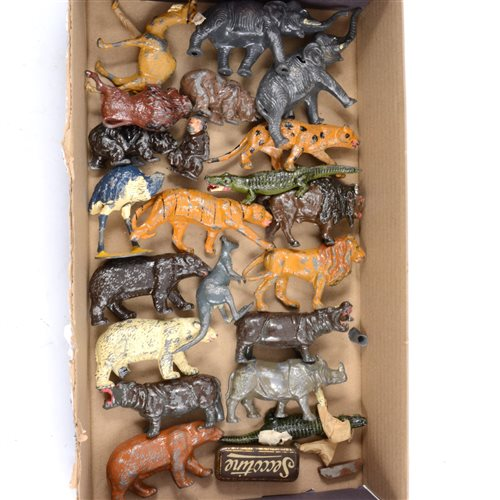 Lot 95-John Hill & Co and Britains painted lead zoo animals figures, including lion, tiger, leopard, elephants, bears, camel, kangaroo etc, (21).