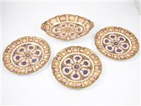 Lot 13-Royal Crown Derby Old Imari pattern oval dessert dish, and three matching plates, [4]