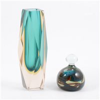 Lot 54-Murano style Sommerso glass vase, facet cut, and an art glass paperweight