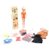Lot 135-Barbie Doll no.850 boxed with selection of outfits. boxed.
